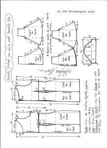 Esquema de modelagem de vestido víntage evasê com recorte tamanho 50.