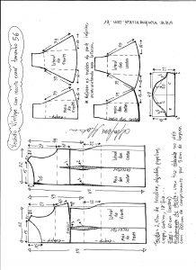 Esquema de modelagem de vestido víntage evasê com recorte tamanho 56.