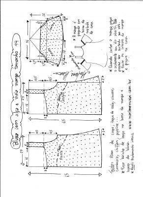 Esquema de modelagem de blusa com alça e meia manga tamanho 44.
