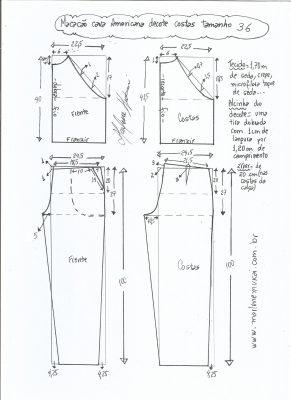 Esquema de modelagem de macacão com cava americana tamanho 36.