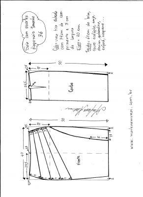 Esquema de modelagem de saia com recorte diagonal tamanho 36.