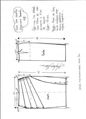 Esquema de modelagem de saia com recorte diagonal tamanho 48.