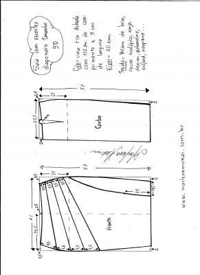 Esquema de modelagem de saia com recorte diagonal tamanho 50.