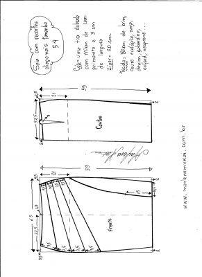 Esquema de modelagem de saia com recorte diagonal tamanho 54.