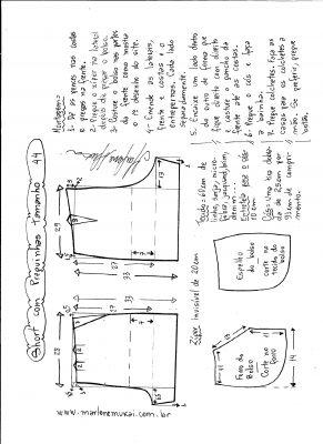 Esquema de modelagem de short com pregas tamanho 44.