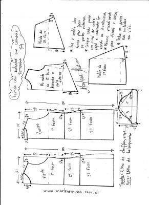 Esquema de modelagem de vestido em camadas tamanho 54