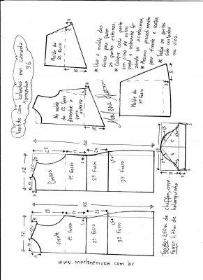 Esquema de modelagem de vestido em camadas tamanho 56.