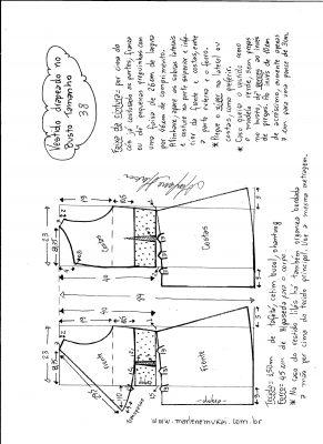 Esquema de modelagem de vestido drapeado com pregas tamanho 38.