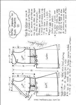 Esquema de modelagem de vestido drapeado com pregas tamanho 40.