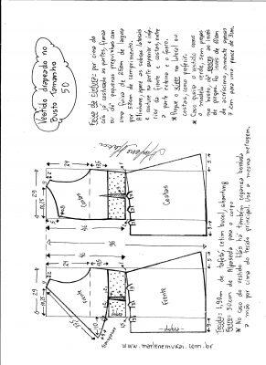 Esquema de modelagem de vestido drapeado com pregas tamanho 50.