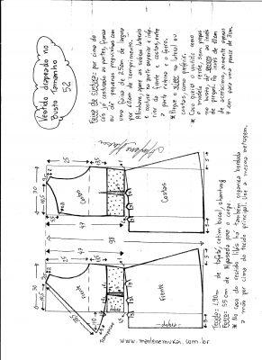 Esquema de modelagem de vestido drapeado com pregas tamanho 52.
