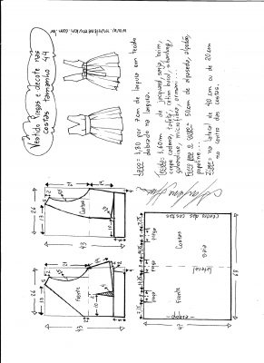 Esquema de modelagem de vestido com pregas e decote nas costas tamanho 44.