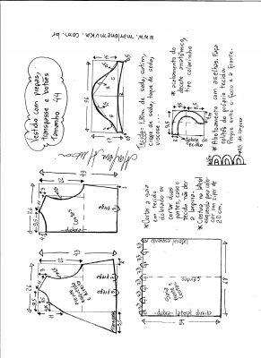 Esquema de modelagem do vestido com transpasse e botões na frente e pregas tamanho 44.