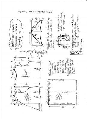 Esquema de modelagem do vestido com transpasse e botões na frente e pregas tamanho 46.