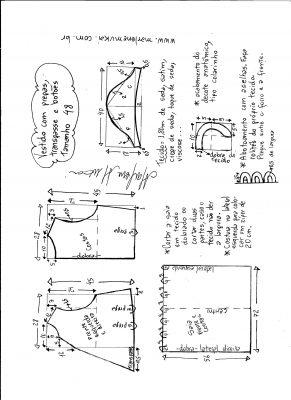 Esquema de modelagem do vestido com transpasse e botões na frente e pregas tamanho 48.