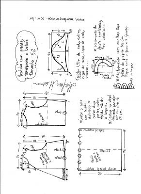 Esquema de modelagem do vestido com transpasse e botões na frente e pregas tamanho 52.