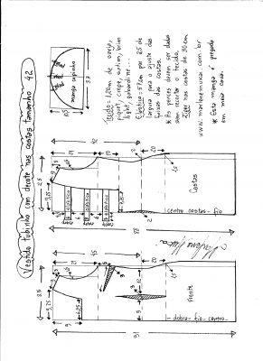 Esquema de modelagem de vestido tubinho com decote nas costas e manga copinho tamanho 42.