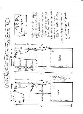 Esquema de modelagem de vestido tubinho com decote nas costas e manga copinho tamanho 48.