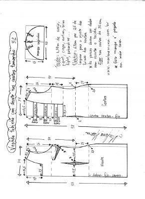 Esquema de modelagem de vestido tubinho com decote nas costas e manga copinho tamanho 52.