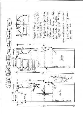 Esquema de modelagem de vestido tubinho com decote nas costas e manga copinho tamanho 54.