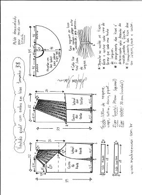 Esquema de modelagem de vestido godê com tiras no ombro tamanho 38.