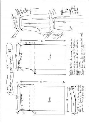 Esquema de modelagem de pantalona com pregas tamanho 36.