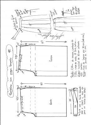 Esquema de modelagem de pantalona com pregas tamanho 40.