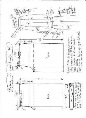 Esquema de modelagem de pantalona com pregas tamanho 52.