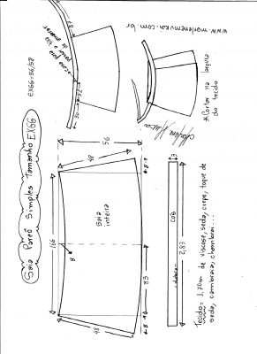 Esquema de modelagem de saia envelope simples tamanho EXGG.