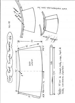 Esquema de modelagem de saia envelope simples tamanho GG.