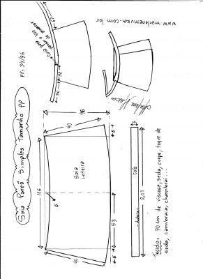 Esquema de modelagem de saia envelope simples tamanho PP.