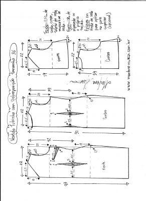 Esquema de modelagem de vestido de festa tubinho com sobreposição tamanho 36.