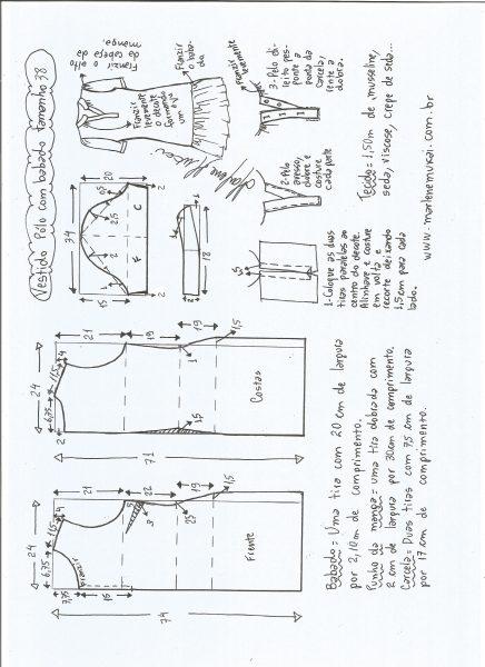 Esquema de modelagem de vestido pólo com babado na barra tamanho 38.