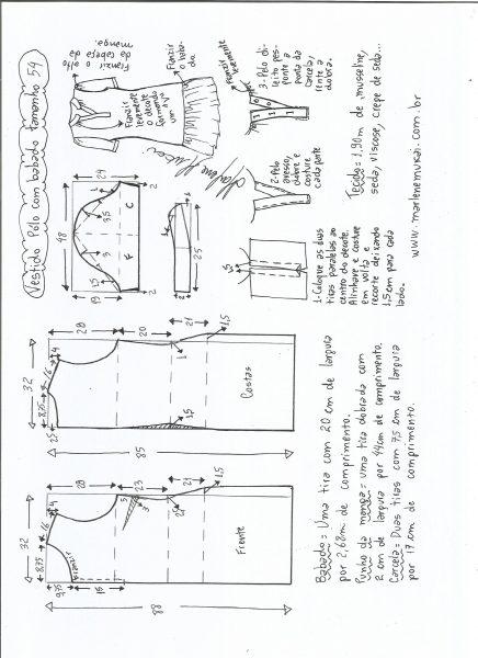 Esquema de modelagem de vestido pólo com babado na barra tamanho 54.