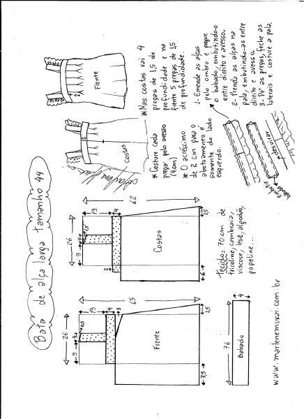 Esquema de modelagem de bata com alça larga e babado tamanho 44.