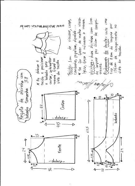Esquema de modelagem de regata de alcinha com babado tamanho 38.