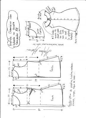 Esquema de modelagem de vestido chamesier com babado tamanho 38.
