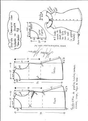 Esquema de modelagem de vestido chamesier com babado tamanho 48.
