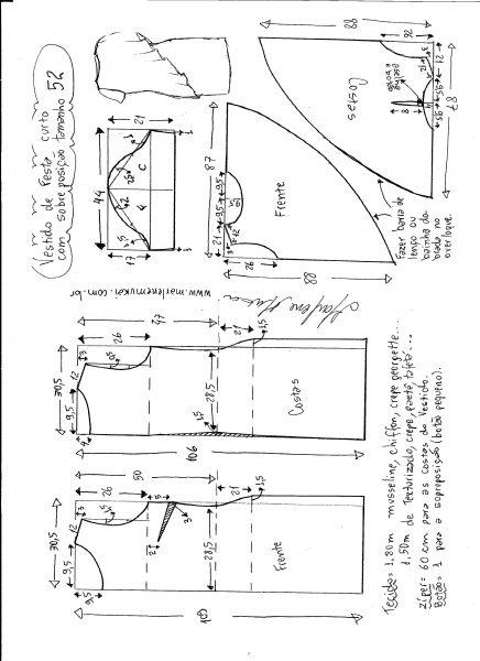 Esquema de modelagem de vestido de festa com sobreposição tamanho 52.