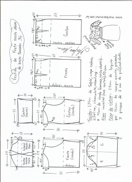Esquema de modelagem de vestido de festa com recorte abaixo do busto tamanho 36.