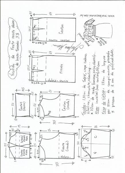 Esquema de modelagem de vestido de festa com recorte abaixo do busto tamanho 38.