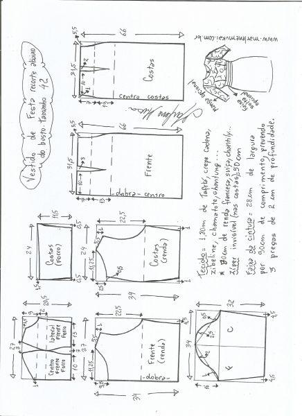 Esquema de modelagem de vestido de festa com recorte abaixo do busto tamanho 42.