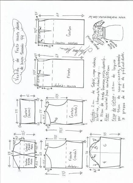 Esquema de modelagem de vestido de festa com recorte abaixo do busto tamanho 44.