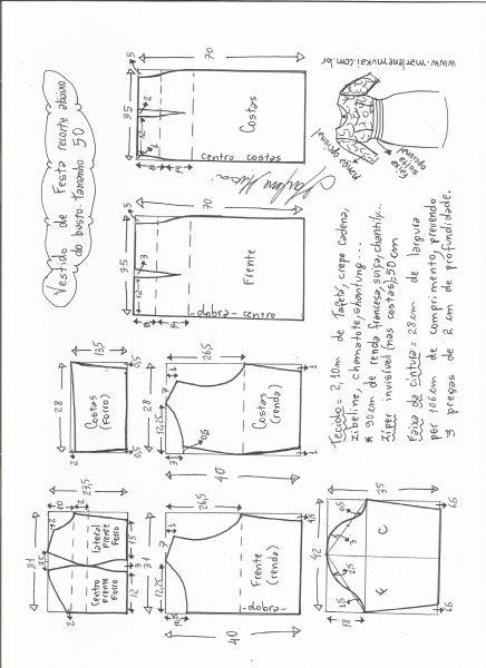 Esquema de modelagem de vestido de festa com recorte abaixo do busto tamanho 50.