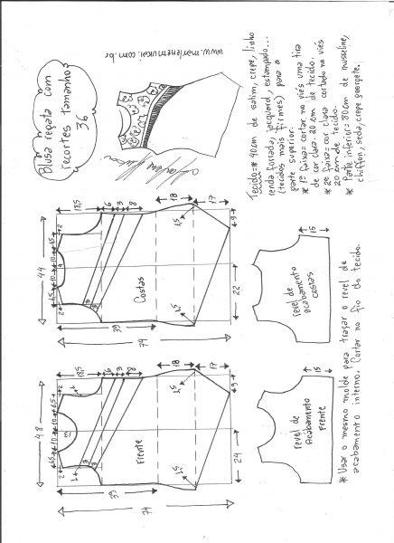 Esquema de modelagem de blusa regata com recortes diagonais tamanho 36.