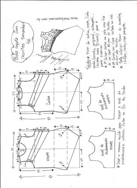 Esquema de modelagem de blusa regata com recortes diagonais tamanho 46.