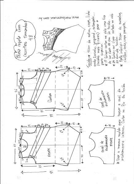Esquema de modelagem de blusa regata com recortes diagonais tamanho 48.