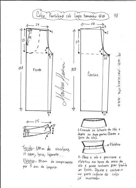 Esquema de modelagem de calça pantalona de cós largo tamanho GG.