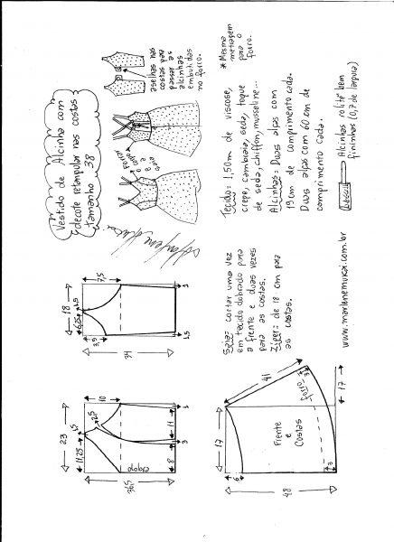 Esquema de modelagem de vestido de alcinha e decote costas tamanho 38.