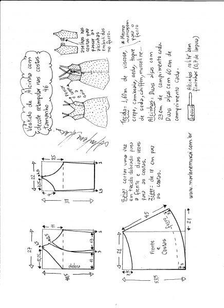 Esquema de modelagem de vestido de alcinha e decote costas tamanho 46.